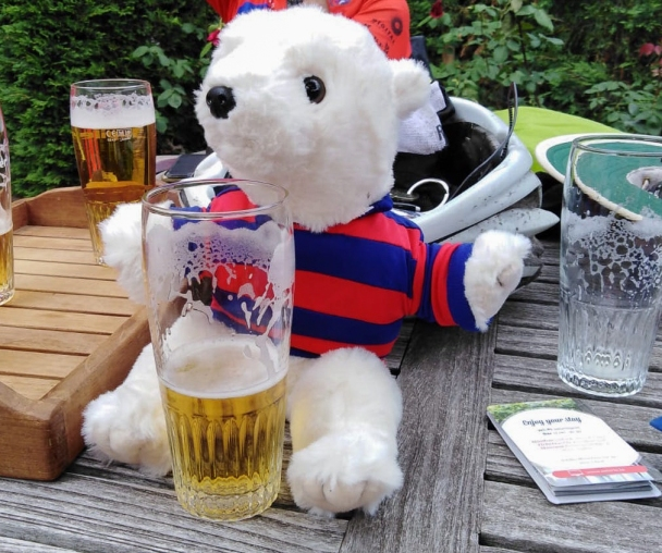 The Slide Away bear has a beer after the first day on the road.