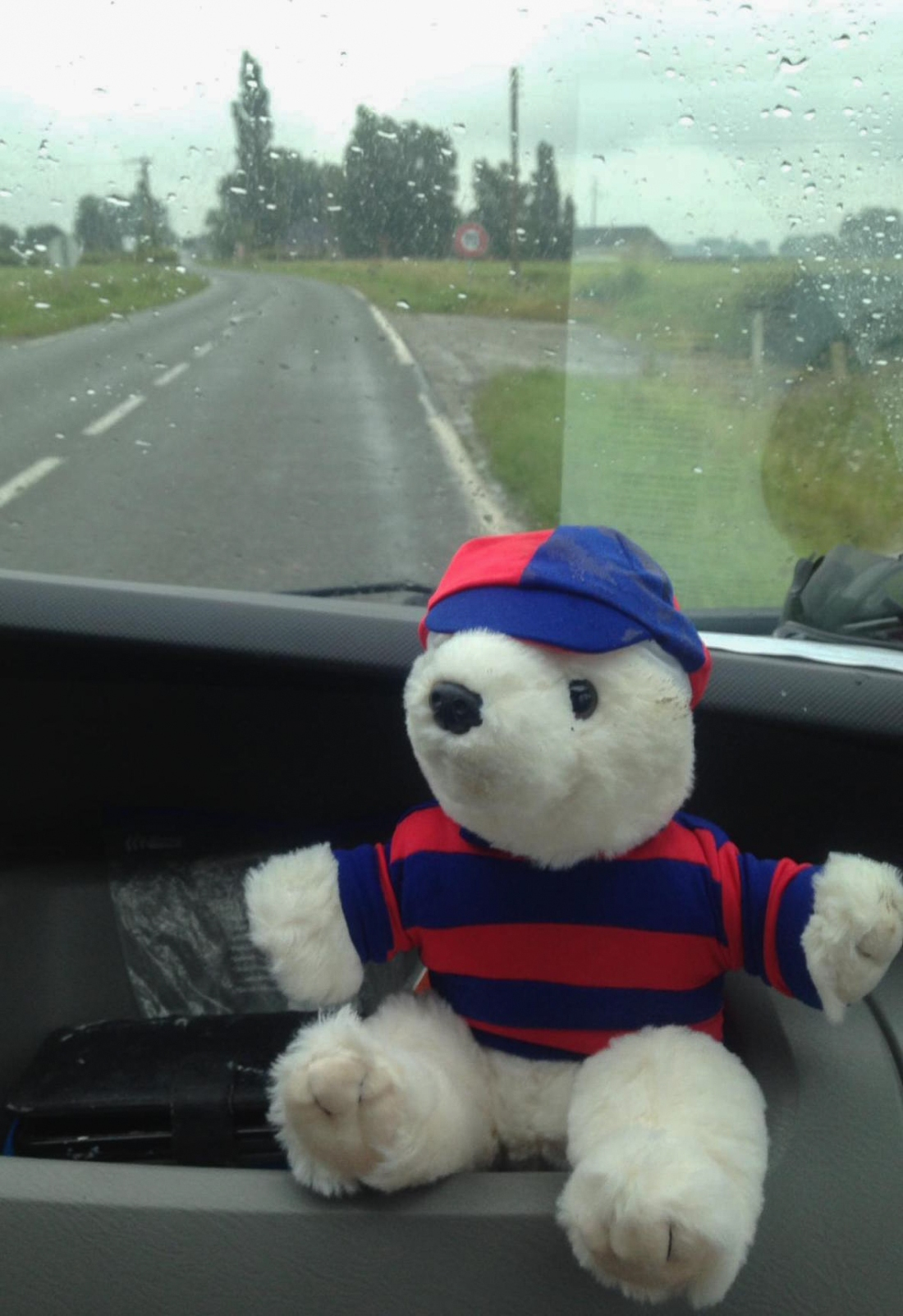 The Slide Away bear rides shotgun in filthy weather outside Calais.