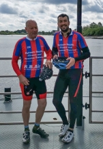 Cathal and Carl on the river ferry to St. Amands, Belgium