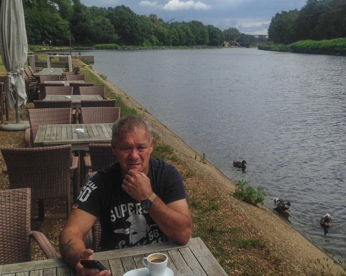 Roger at Herentals, Belgium at the lunch stop.