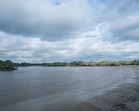 The view of the Schelde river at St. Amands, Belgium