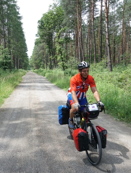 Keith, first day on the road, in a forest in Poland