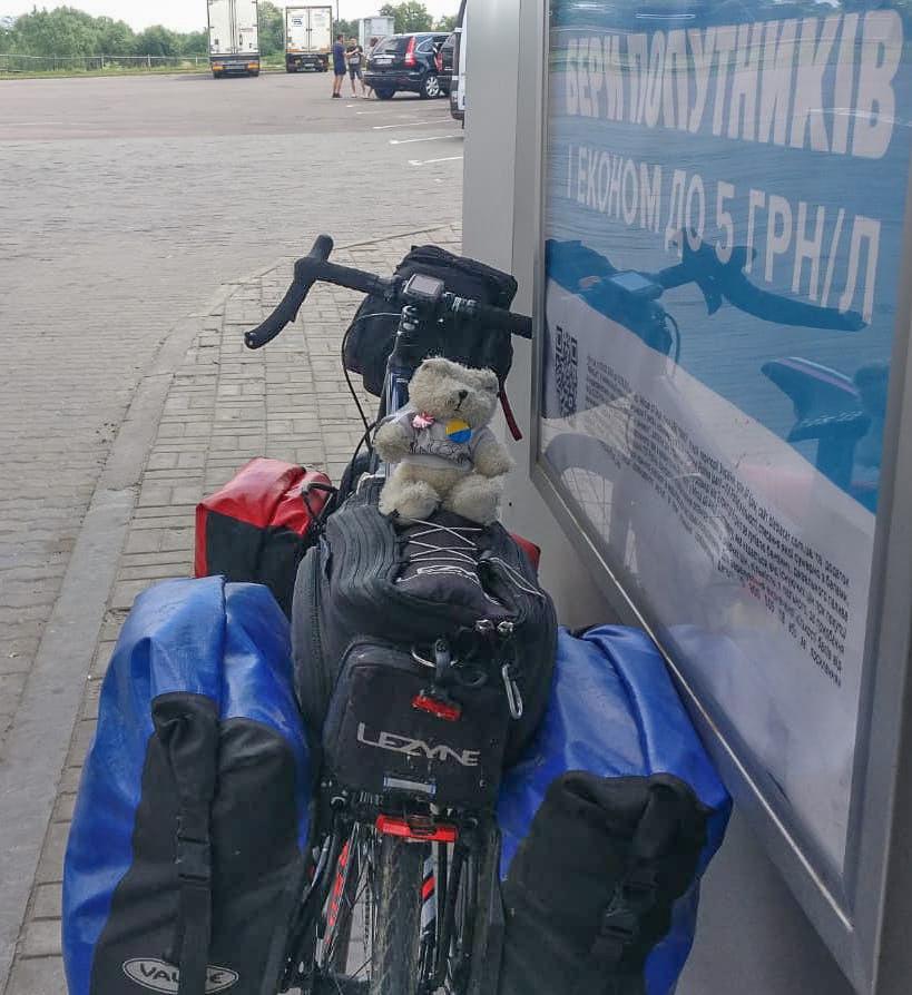 The Slide Away bear at the Ukraine border