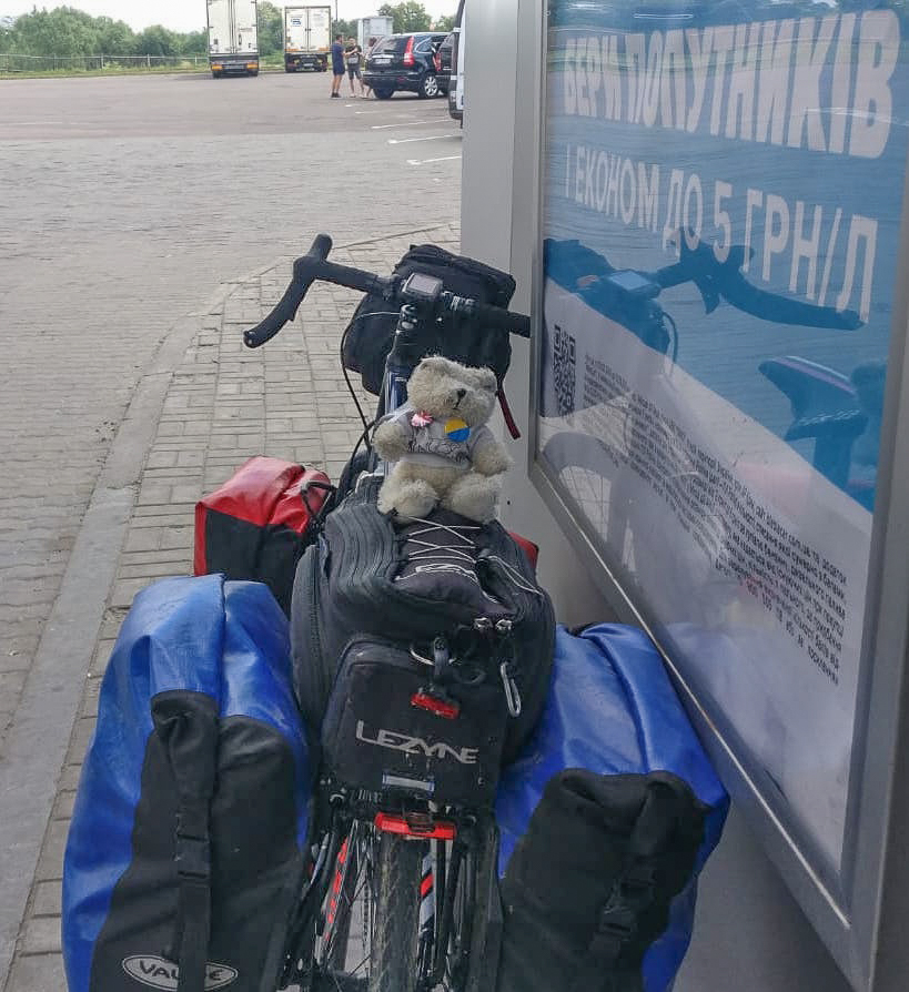 The Slide Away bear at the Ukraine border
