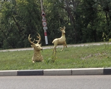 Deer statues by the road