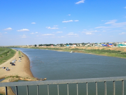 Oral river: the border of Europe and Asia at Indebor, Kazakhstan