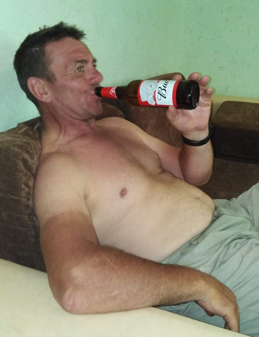 Keith with a Czech Bud - in Ukraine