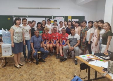 Linford, Keith and Dale with the Student English Teachers of School No. 7, Oral, Kazakhstan