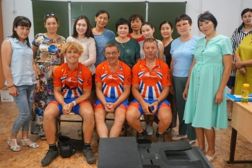 Linford, Dale and Keith with the Student English Teachers of School No. 7, Oral, Kazakhstan