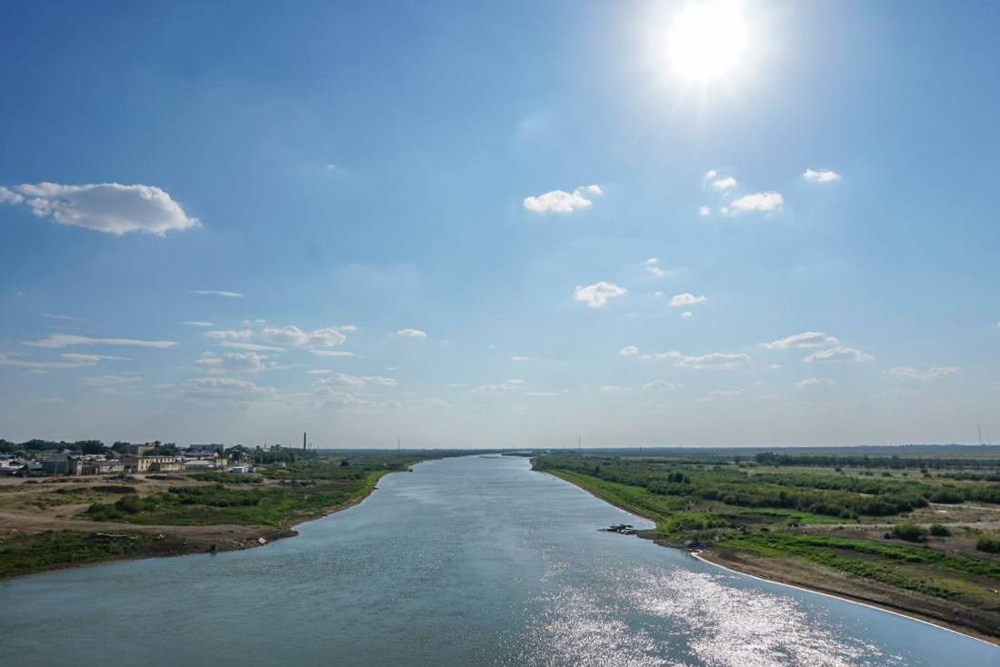 Oral river at Inderbor, Kazakhstan