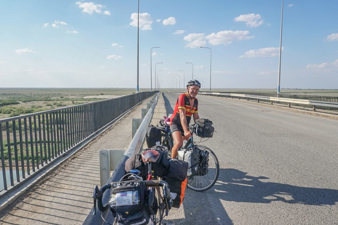 Dale on the Oral river bridge at Inderbor, Kazakhstan