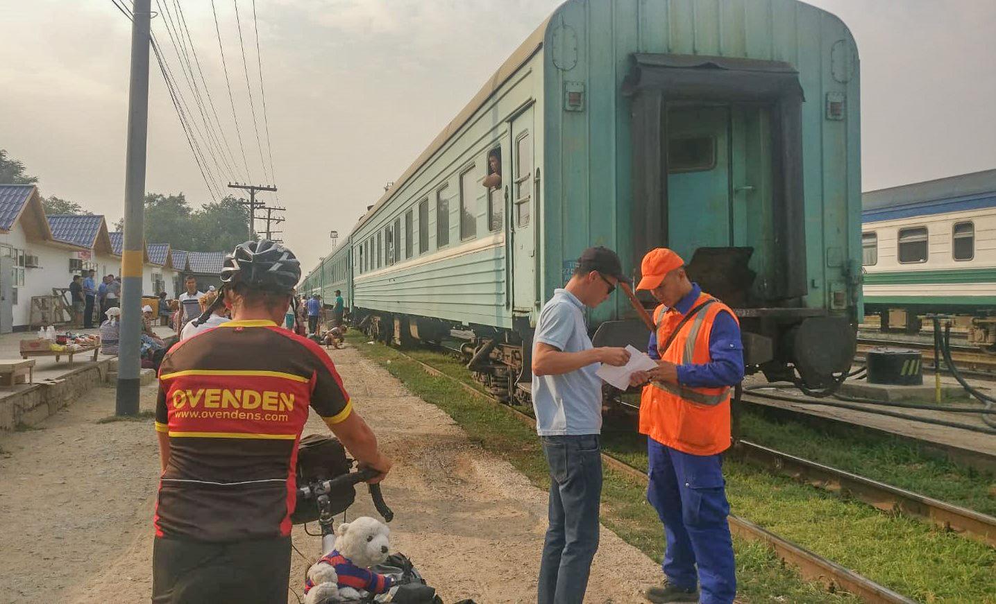 Loading the train at Korkol Railway Station