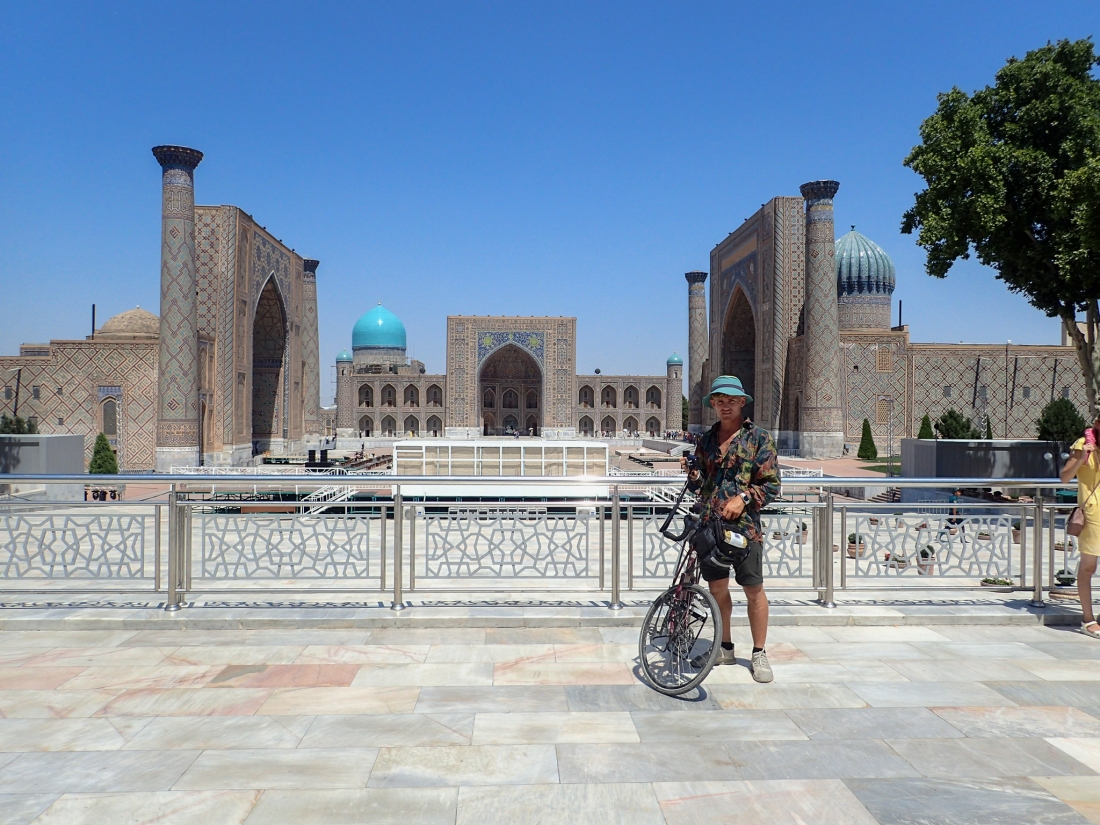 Linford at the Bibi-Khanym Mosque in Samarkand