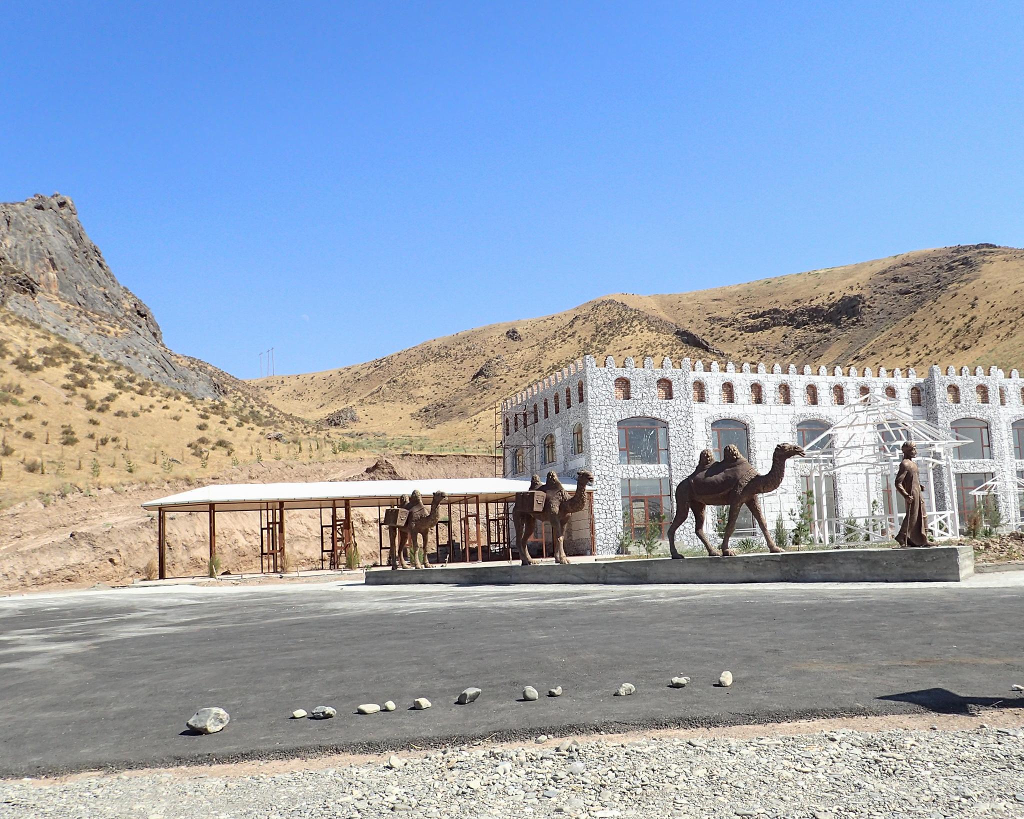 Hotel? With camel statues.