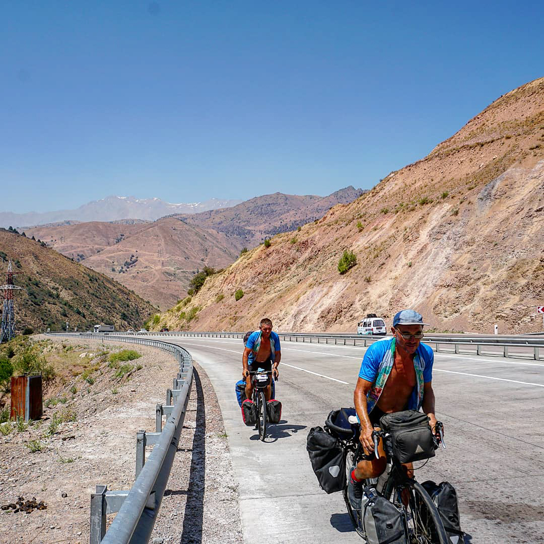 Keith and Dale on the road to Kokand