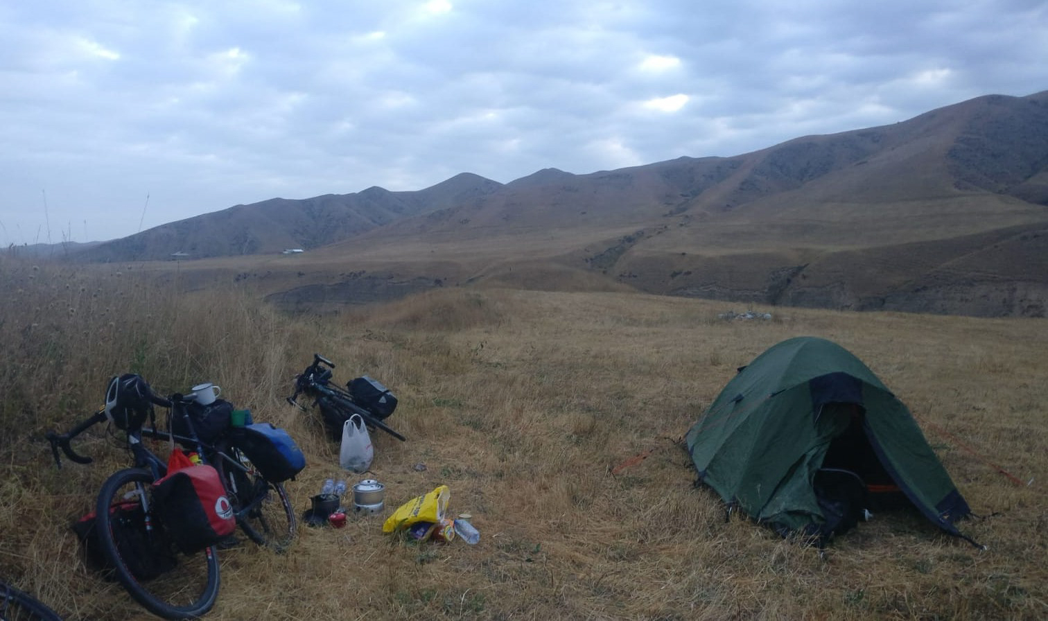 Camping near the Taldyk Pass on the Pamir Highway
