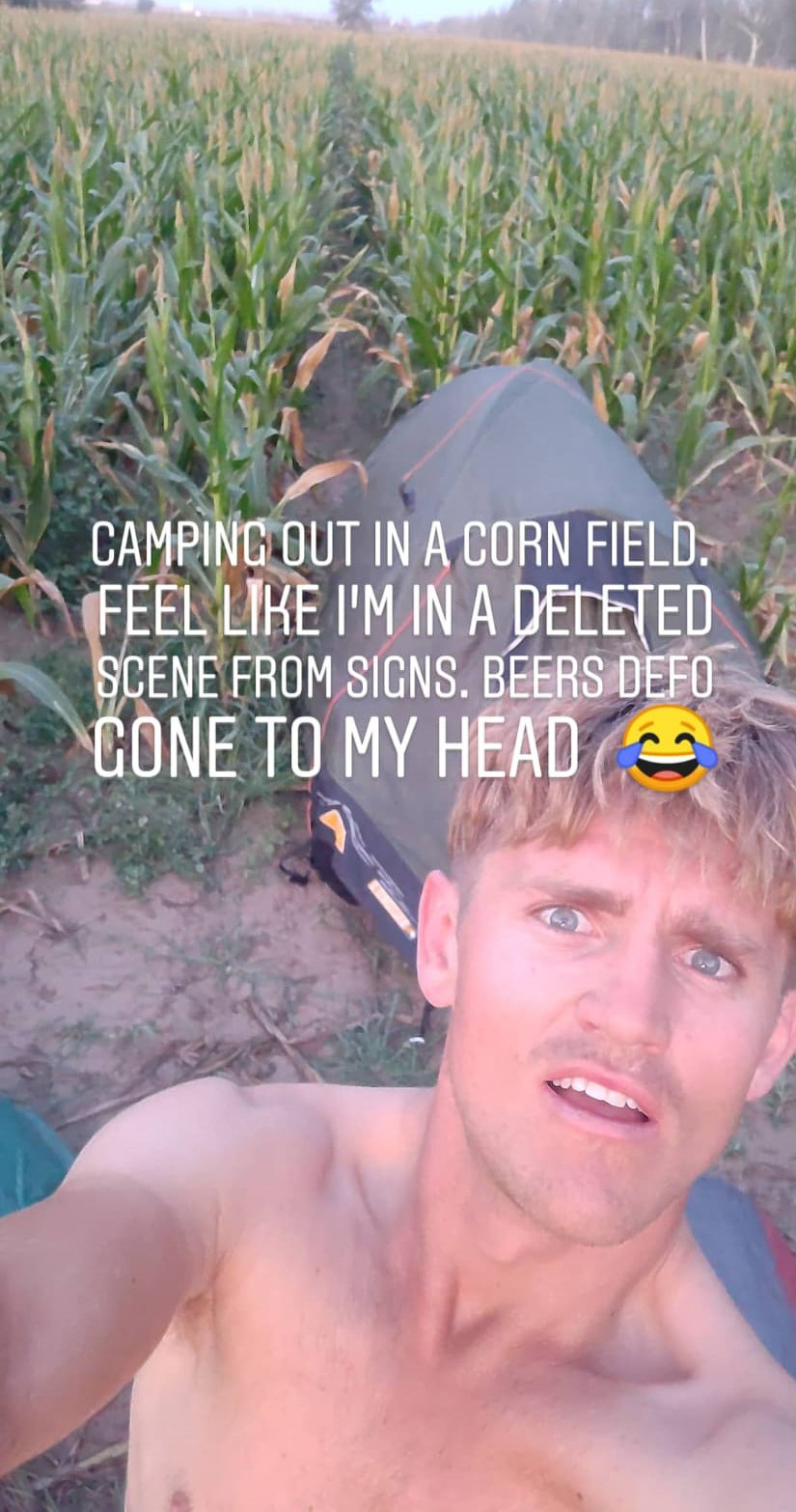 Camping in a Maize field