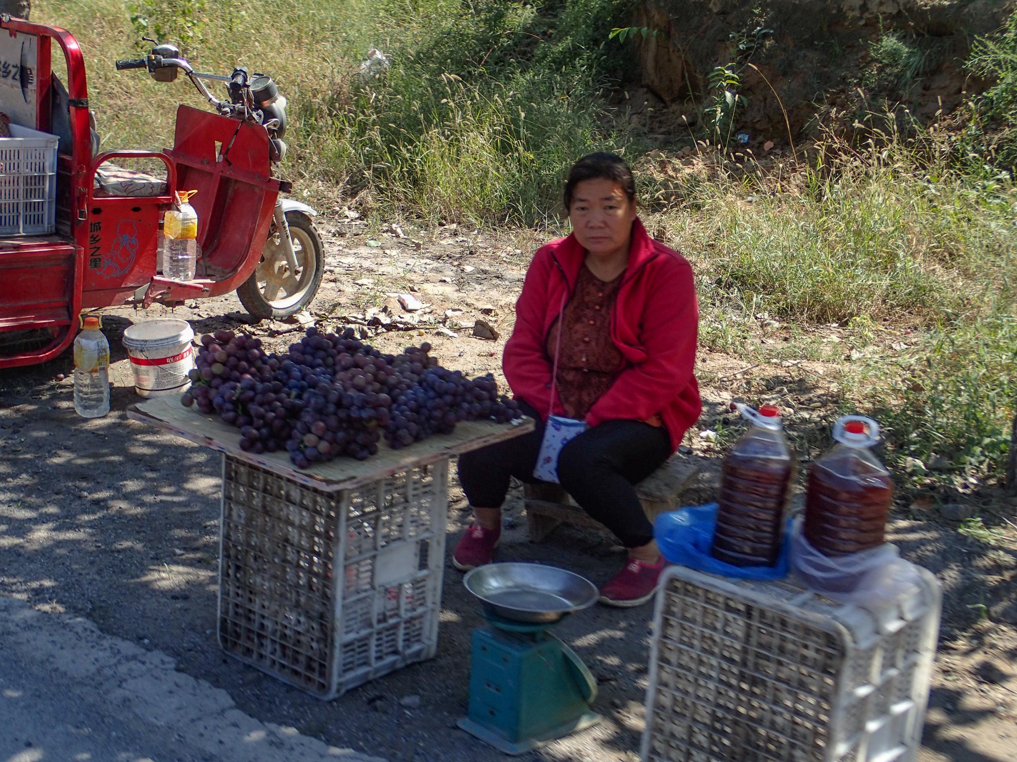 Roadside grapes and grape juice