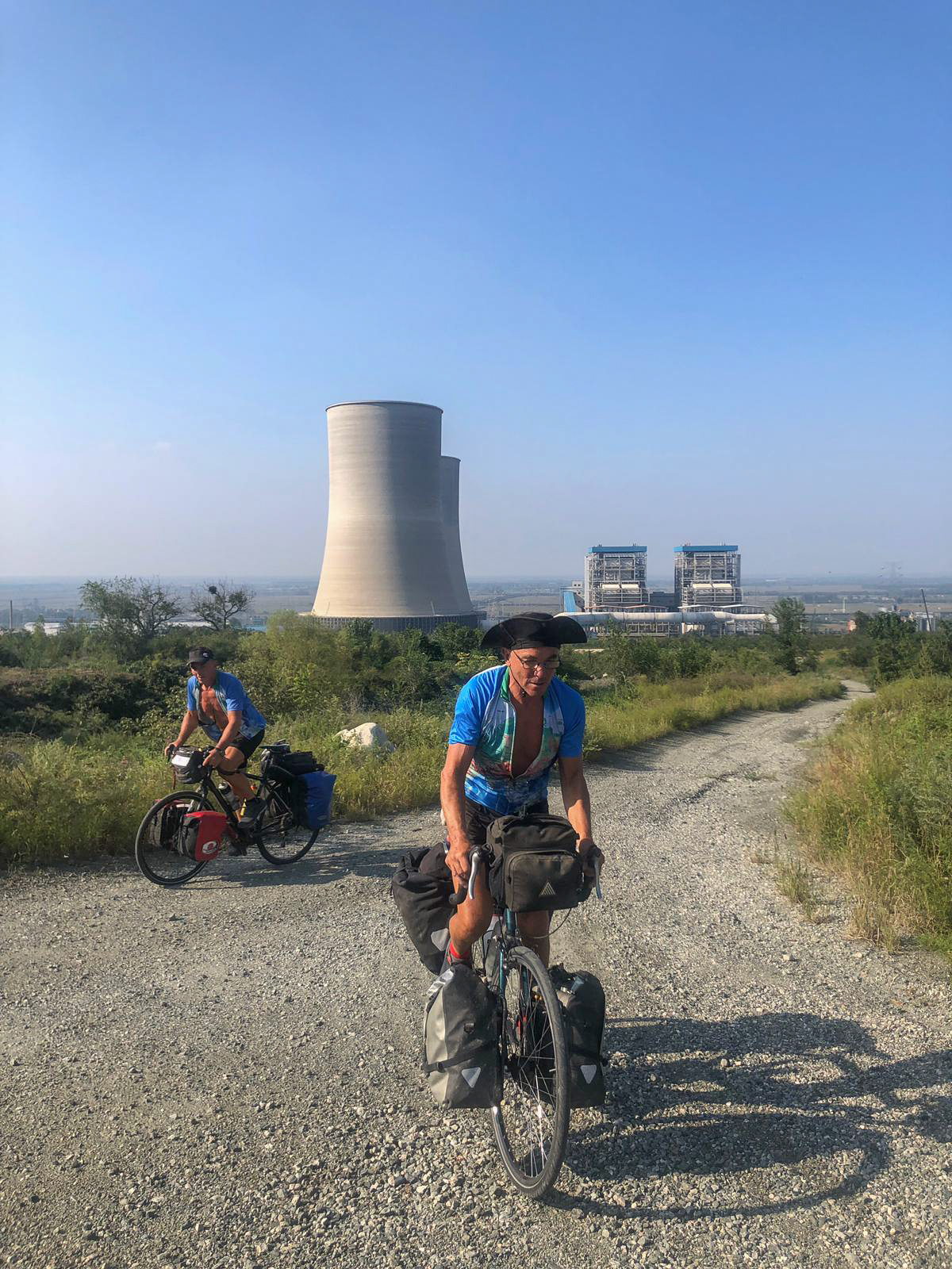 Cycling an old track besides an old Power Station