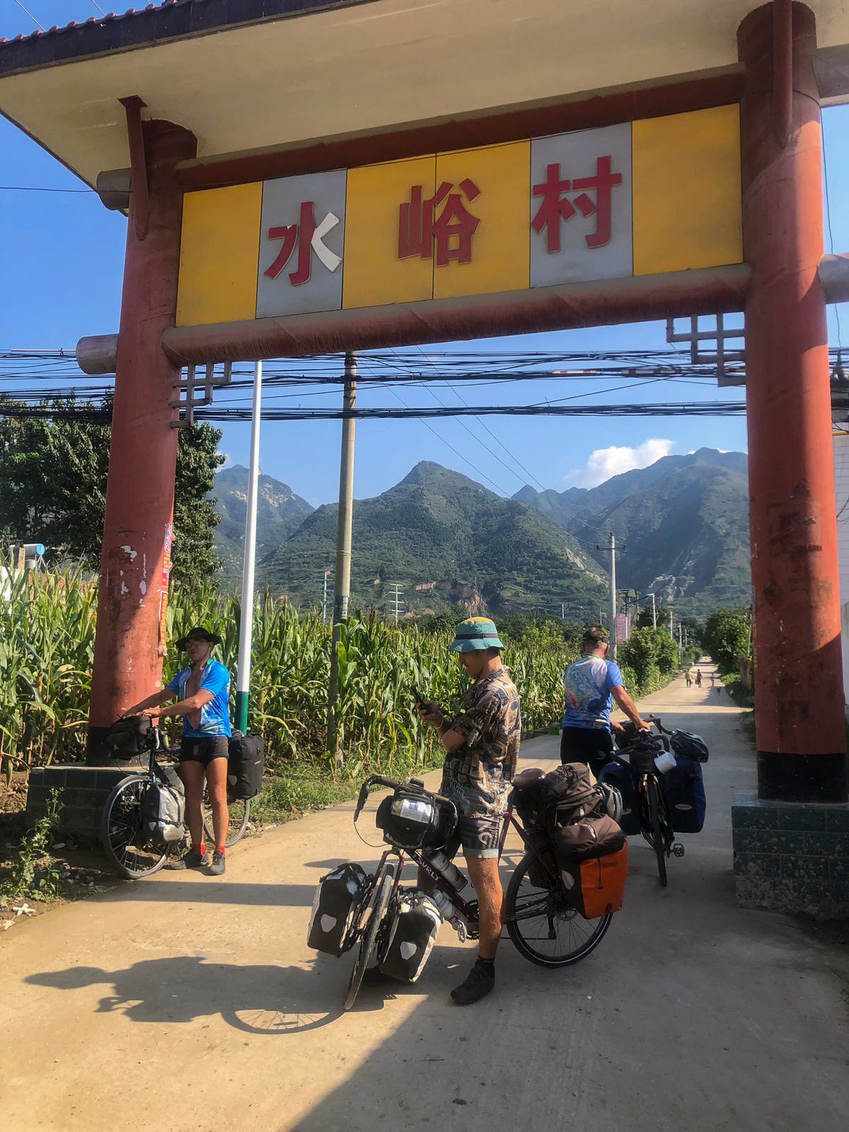 Pitstop with terraced mountains