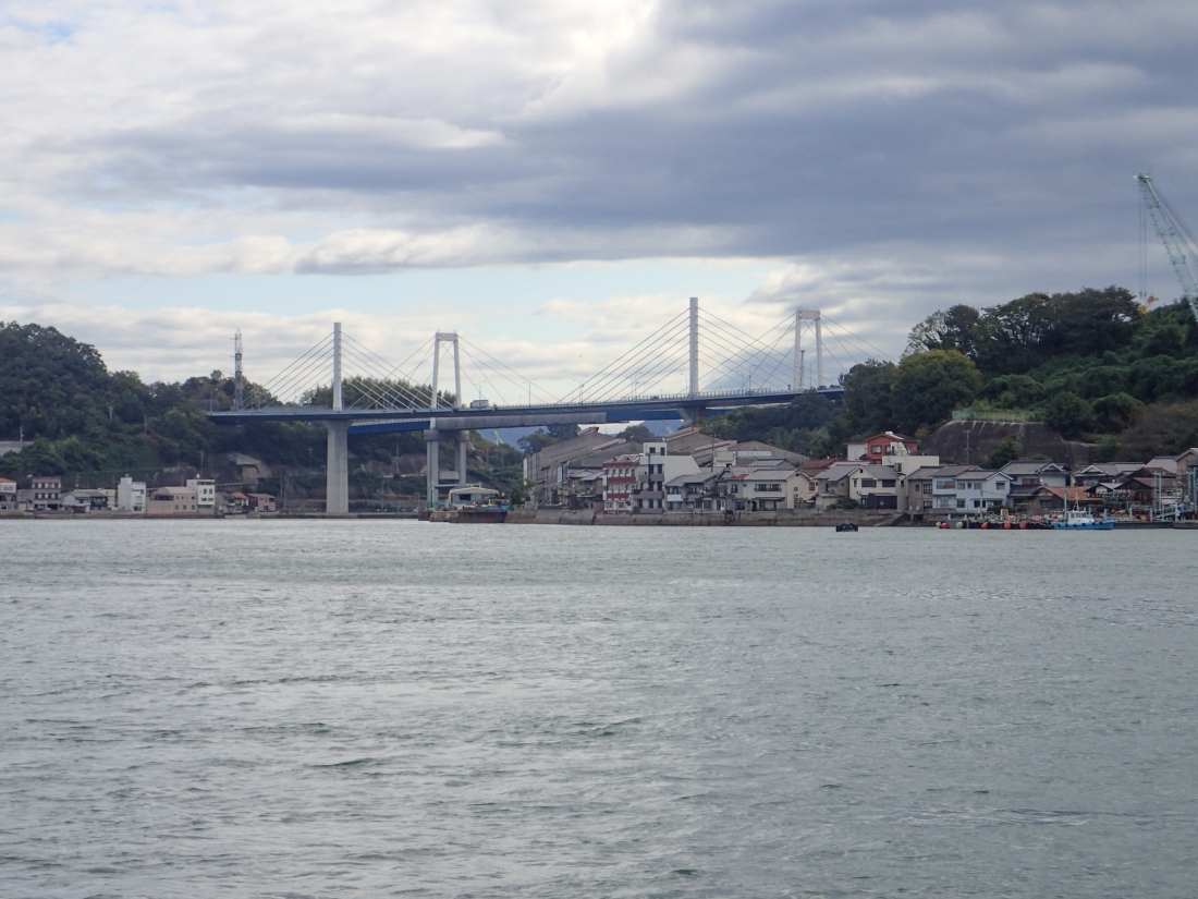 Departing Onomichi and the Shin-Onimichi bridge