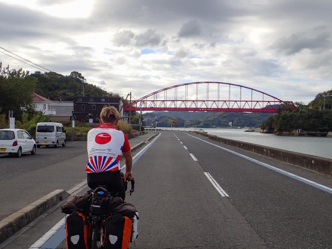 Linford approaching the Innoshima bridge
