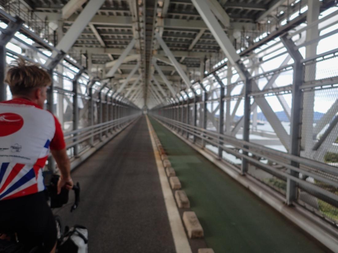 On the cycle path beneath the Ikuchi bridge