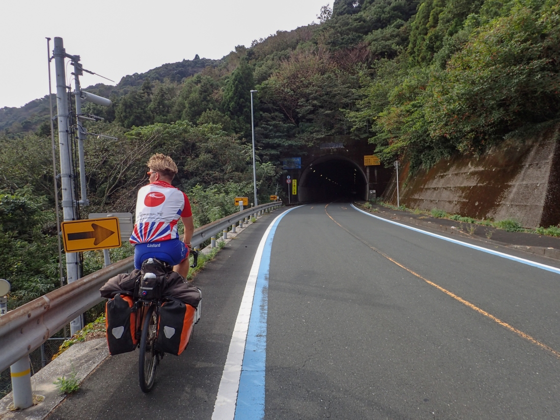 Linford approaches a tunnel