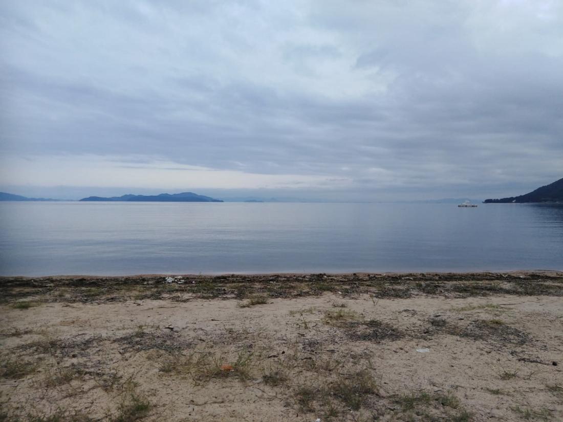 Lake Biwa on the ride out of Osaka