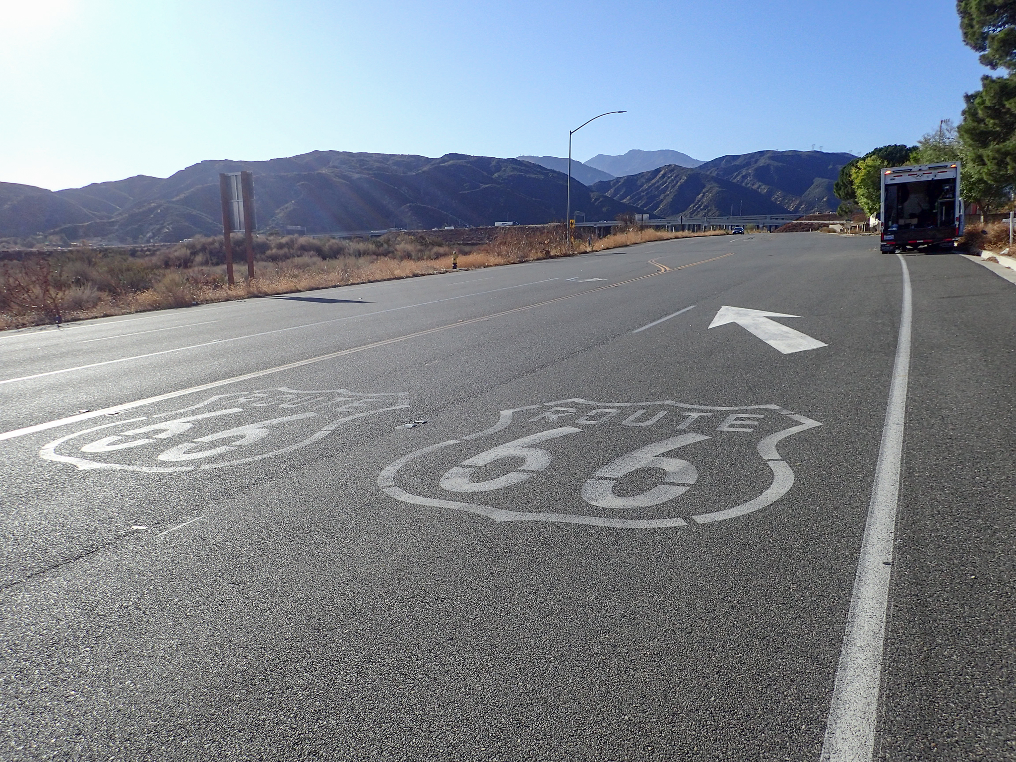 Route 66 and mountains
