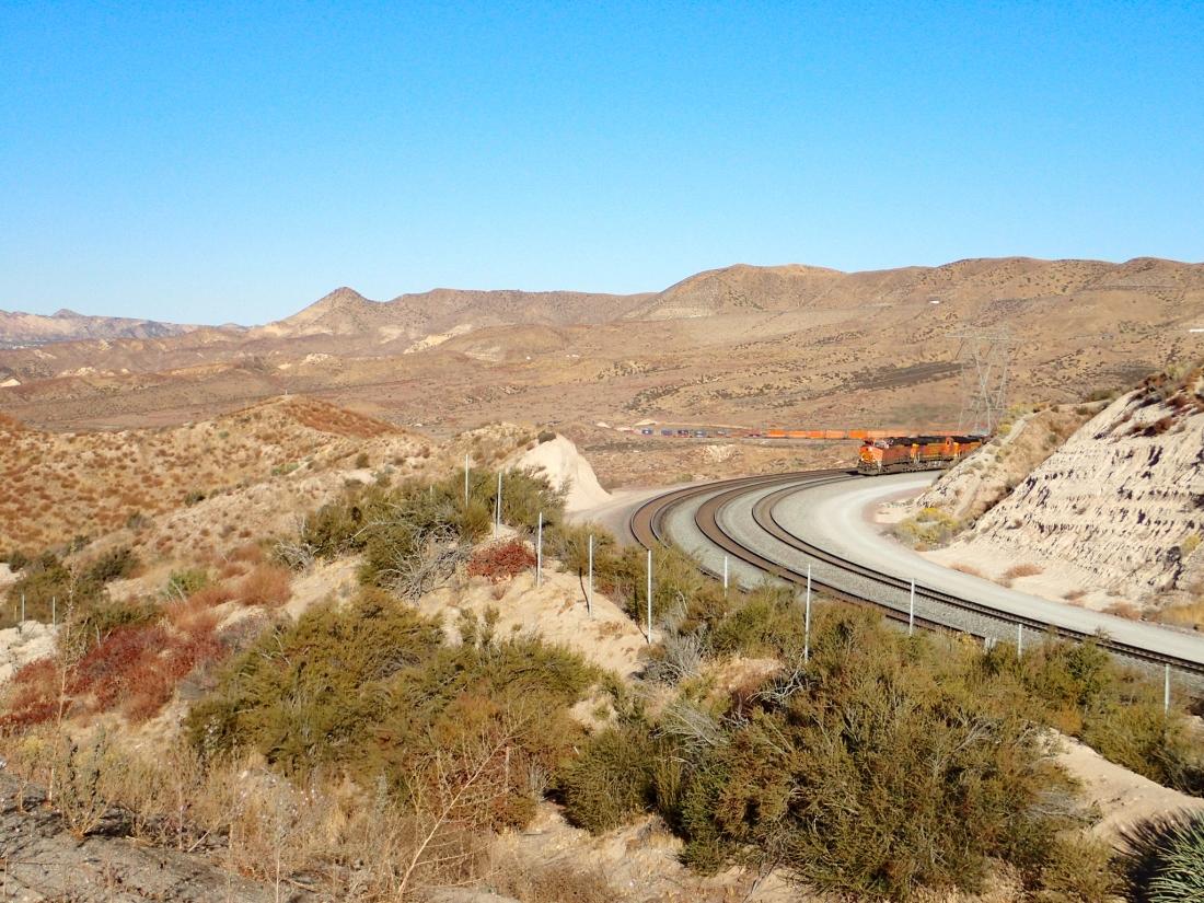 BNSF Freight Train coming up the Cajon Pass, California, USA