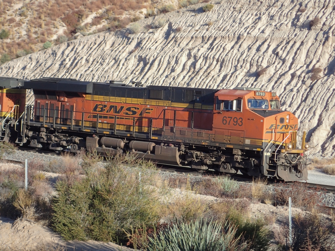BNSF Freight Train coming up the Cajon Pass, California, USA