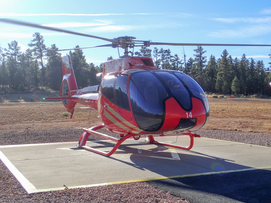 Helicopter ready for Grand Canyon flight
