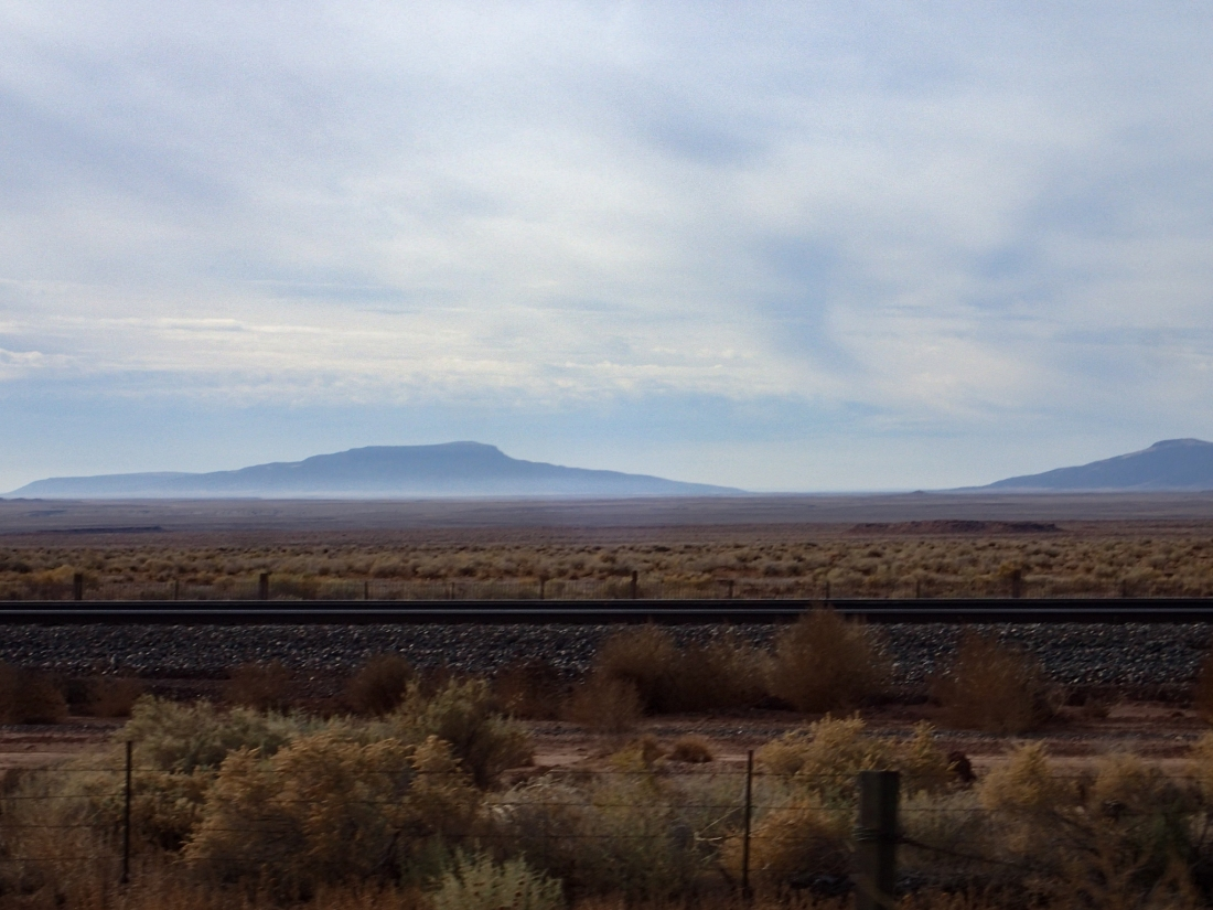 Desert, railroad and mountains