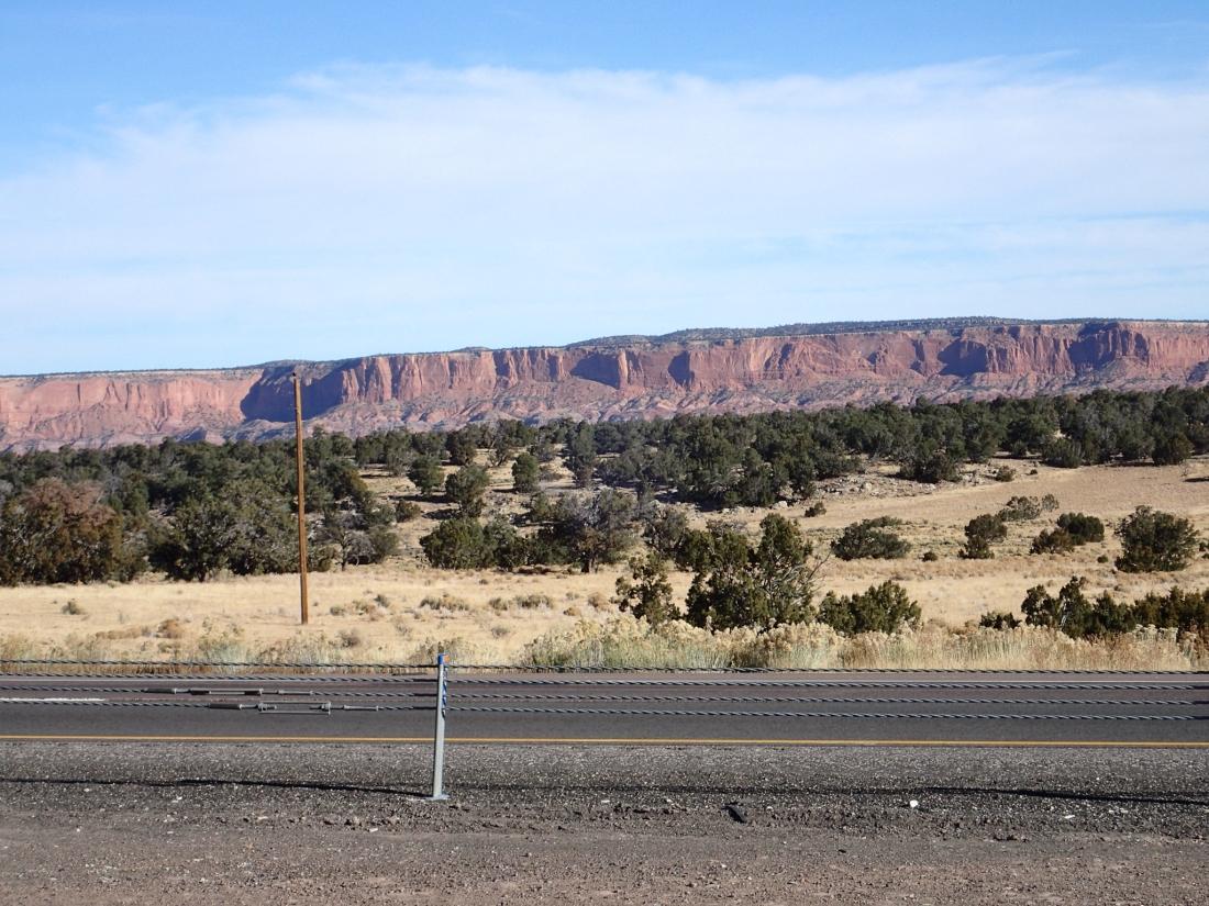 Sandstone escarpment and praire