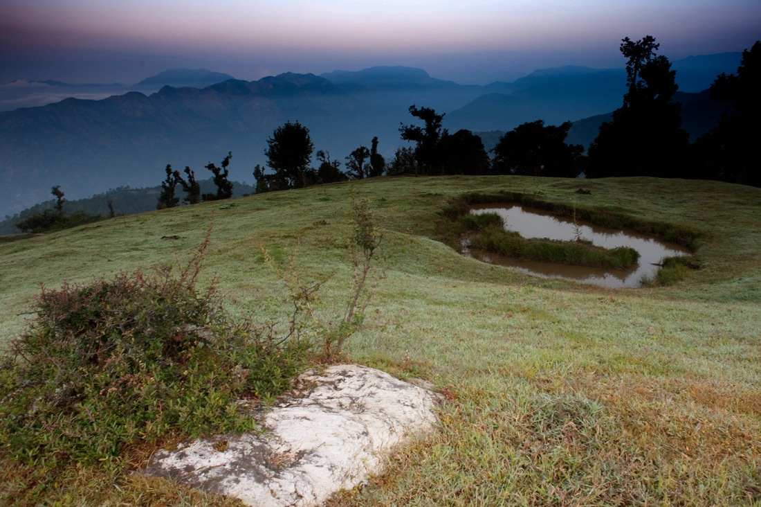 Dawn at the campsite at Bhairan Gati, Uttarakhand, India. Trek Day 9.