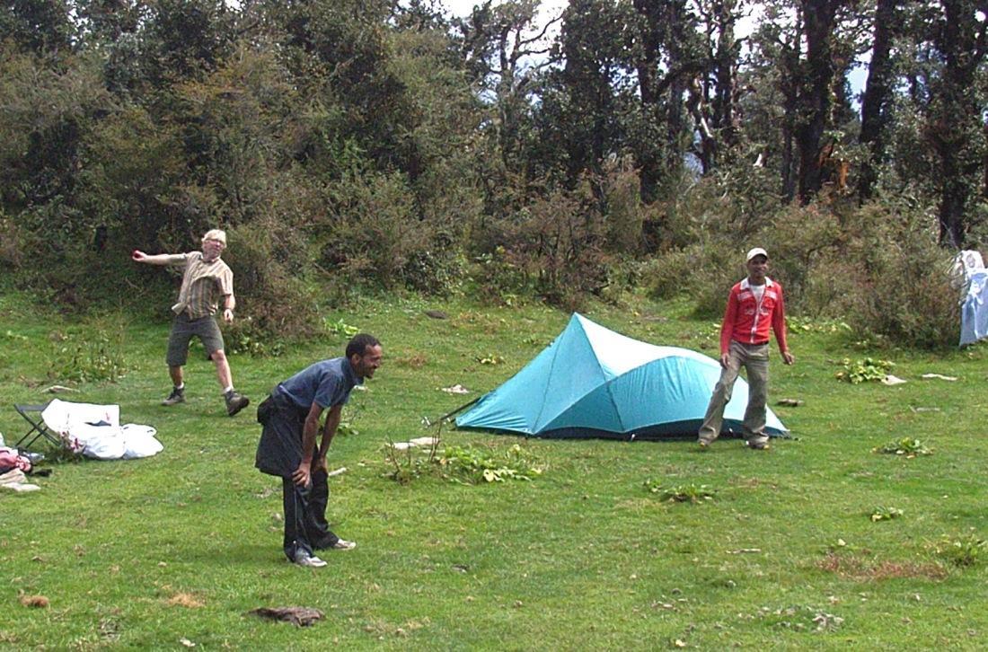 cricket at the campsite at Pawali Canta, Uttarakhand, India. Trek Day 11