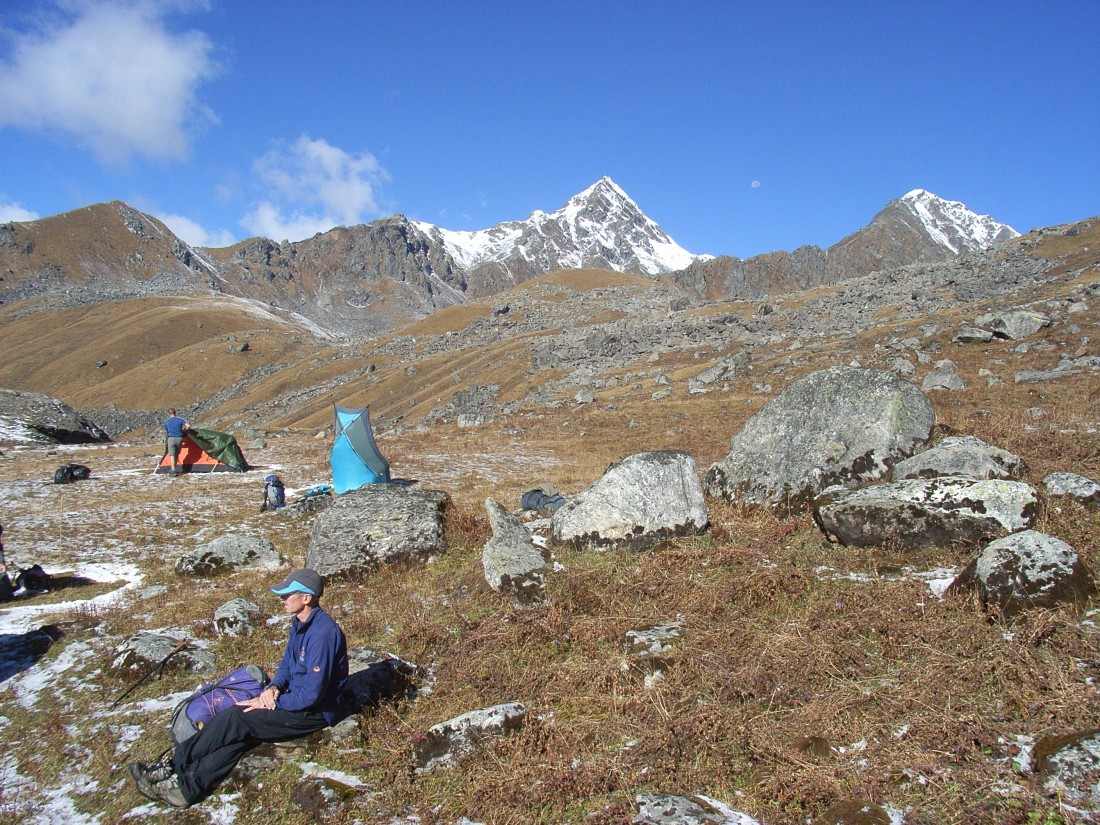 Keith and James breaking camp at Vasuki Tal whilst Steve's tent is drying