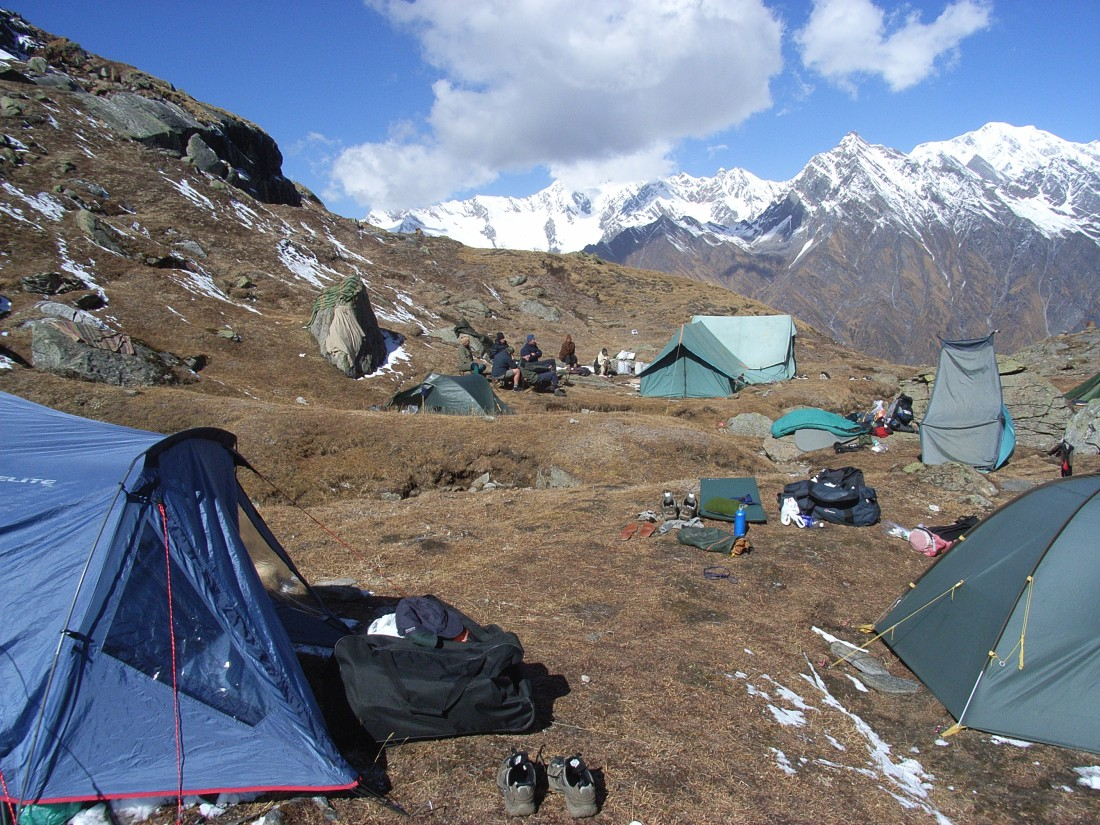 The campsite at Marsar Tal, Uttarakhand, India. Trek Day 19