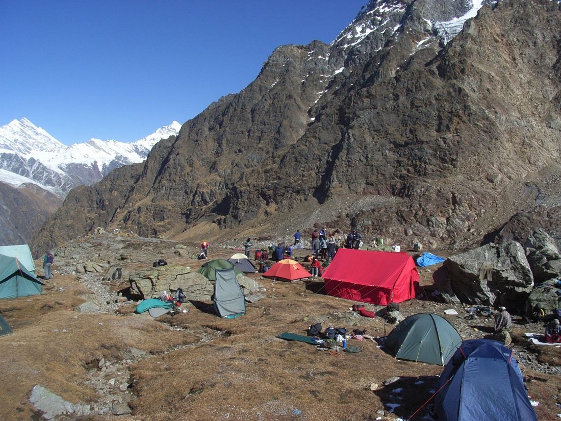 The campsite at Marsar Tal, Uttarakhand, India. Trek Day 19