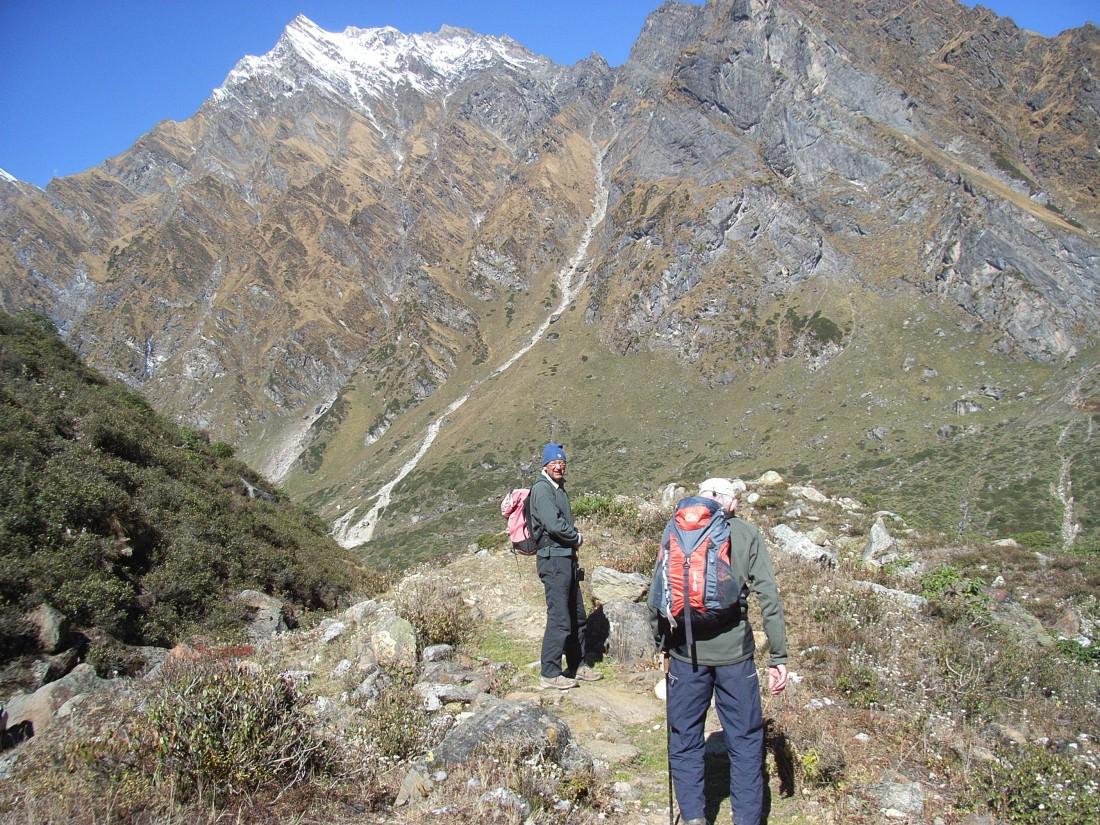 Jim and Jan on the trail to Kalyani, Uttarakhand, India. Trek Day 20