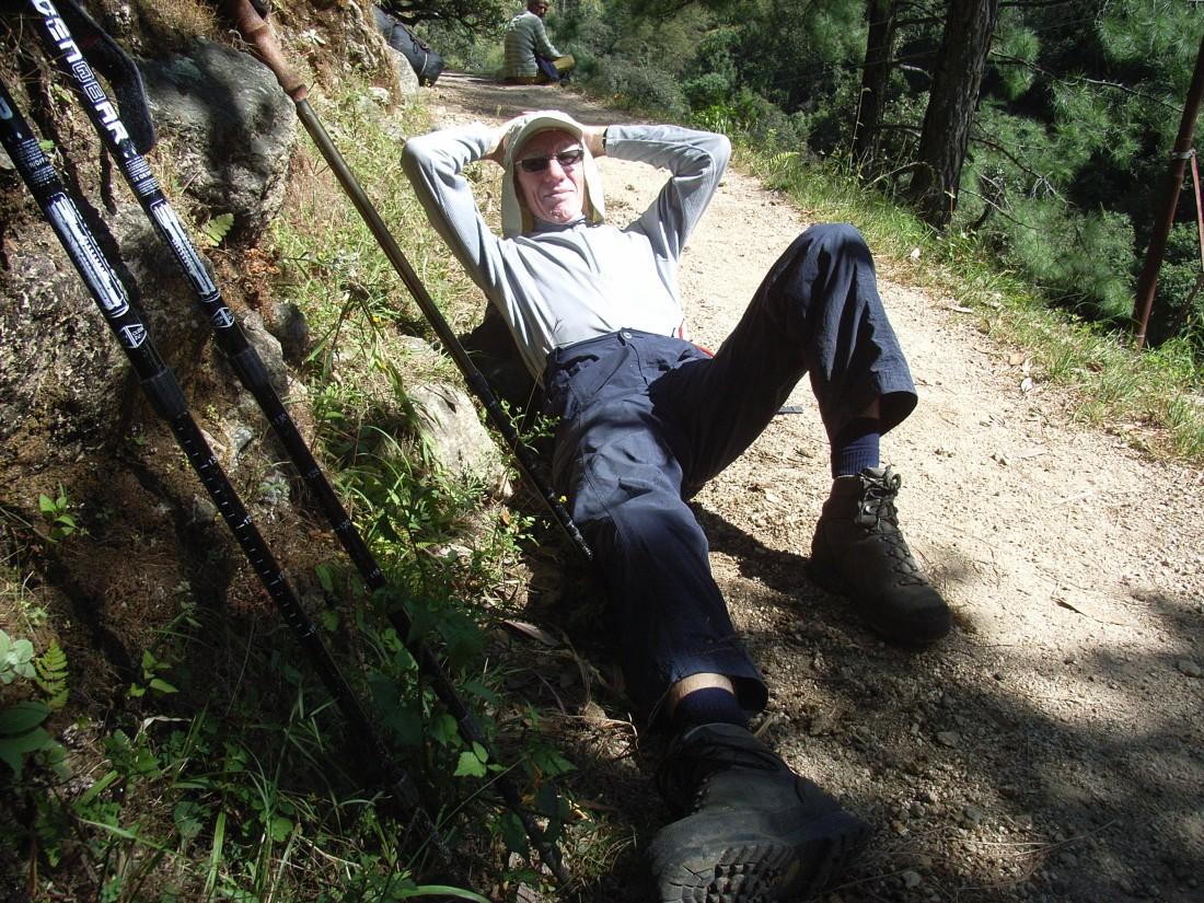 Jan takes a break on the trail to Ghuttu, Uttarakhand, India. Trek Day 22