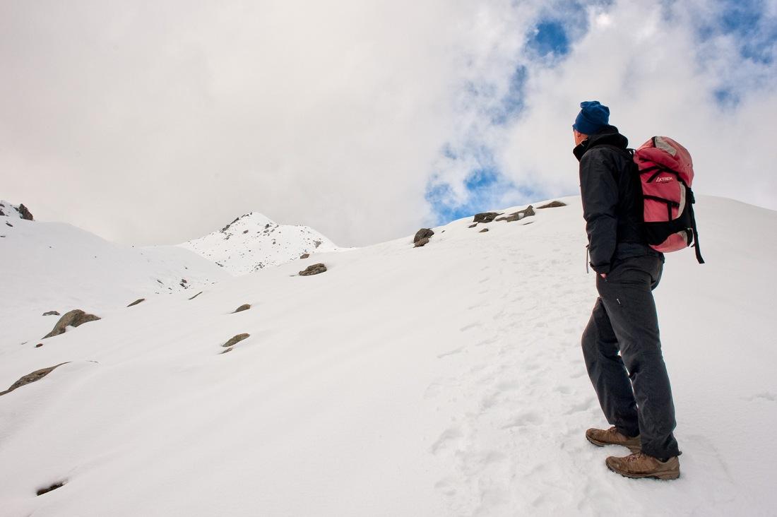 Jim contemplates on the trail to Marsar Tal, Uttarakhand, India. Trek Day 17