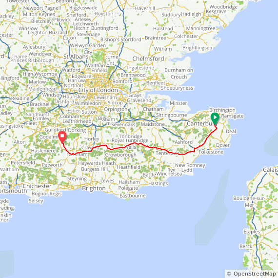 Map Day 1 Wingham to Cranleigh